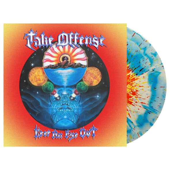 "Keep An Eye Out 12"" Vinyl (White & Cyan Blue Aside/Bside w/ heavy Neon yellow and Red(ish) splatter)"
