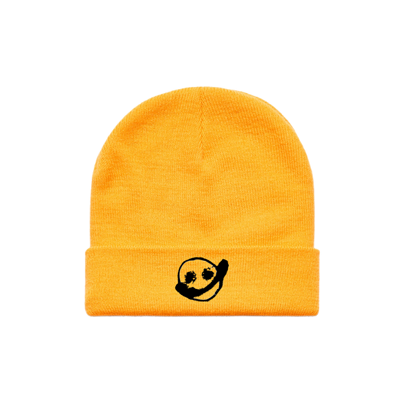 Embroidered Smiley Beanie (Gold)