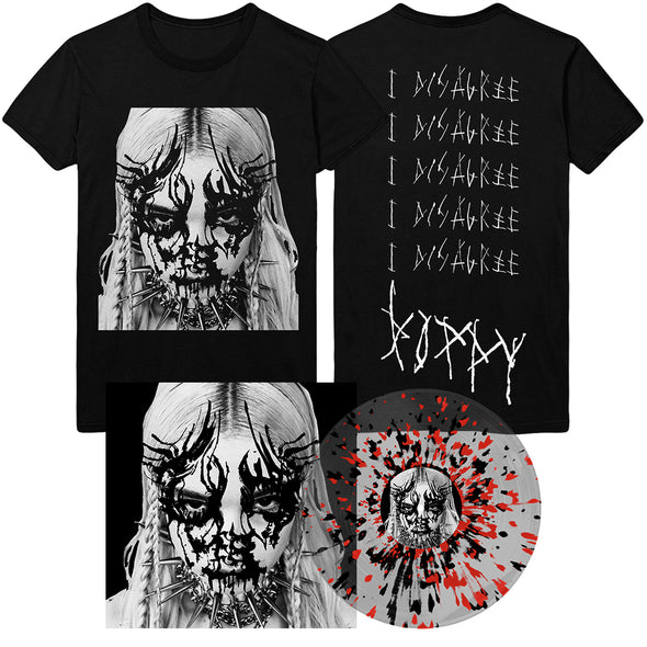 "I Disagree 12"" Vinyl Tee Bundle (Clear With Black And Red Splatter) // PREORDER"