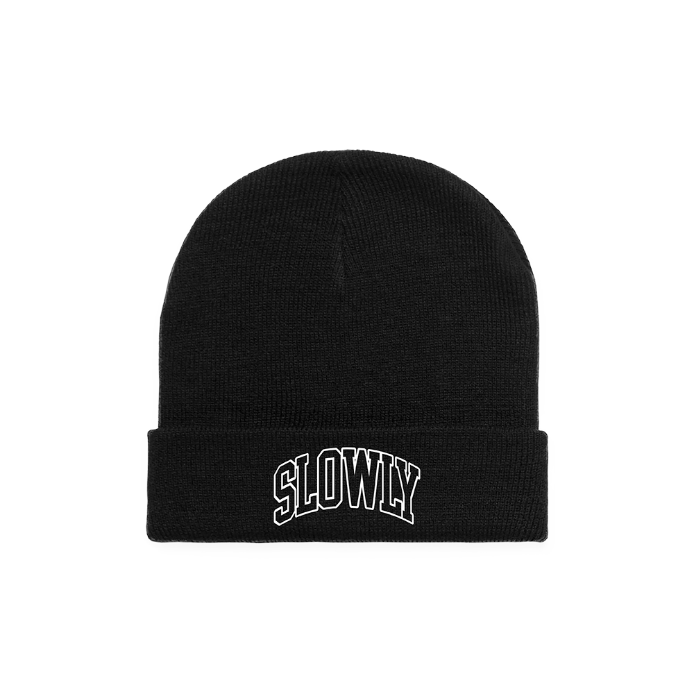 Slowly Embroidered Beanie (Black) // PREORDER