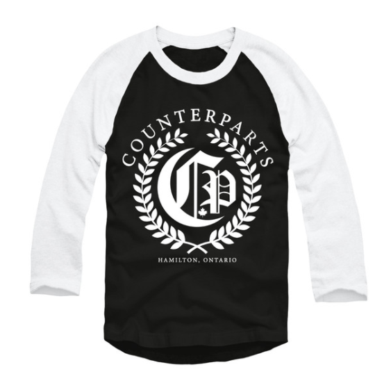 Counterparts Official Merch - Olive Branch Baseball Tee (Black/White)