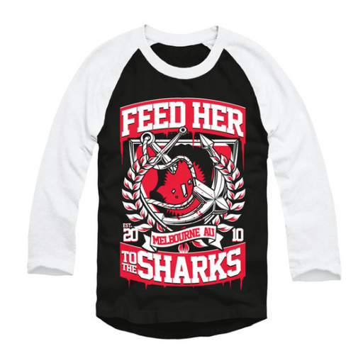 Feed Her To The Sharks Official Merch - Broken Anchor Baseball Tee (Black)