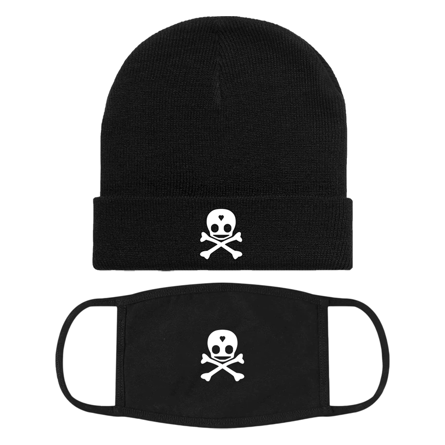 Skull Logo Beanie + Face Mask Bundle