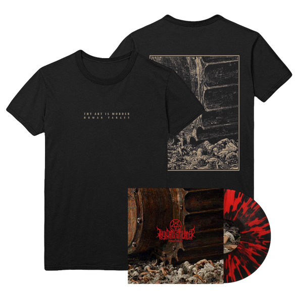 Human Target Vinyl / Tee Bundle (Red with heavy Black Splatter Vinyl) // PREORDER