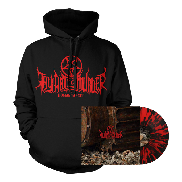 Human Target Vinyl / Hoodie Bundle (Red with heavy Black Splatter Vinyl) // PREORDER