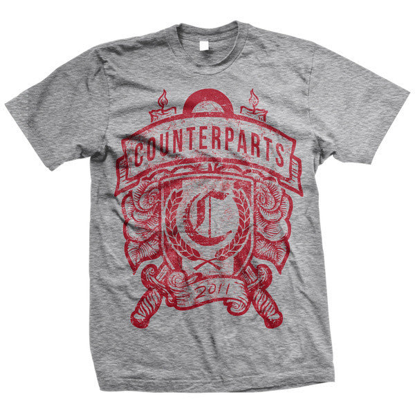 Counterparts Official Merch - Candles and Knives Crest (Grey Tee)