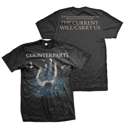 Counterparts Official Merch - The Current Will Carry Us (Black Tee)