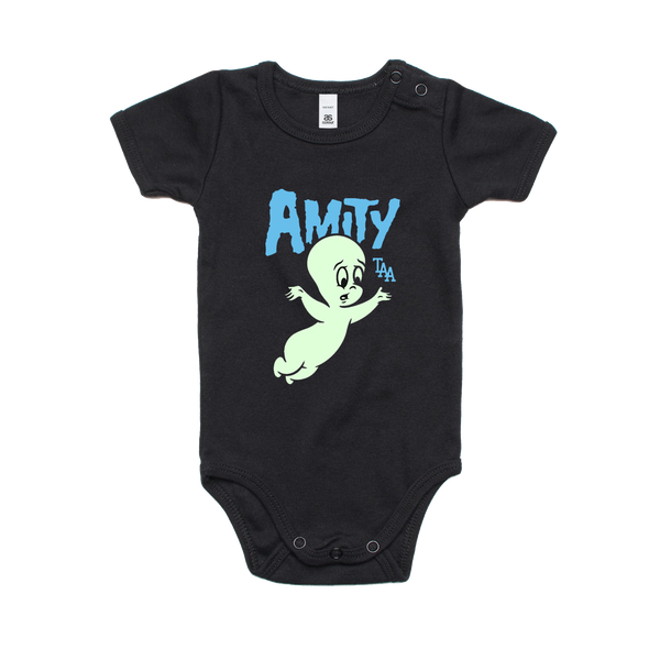 Friendly Ghost Onesie (Black with Glow In The Dark Print)