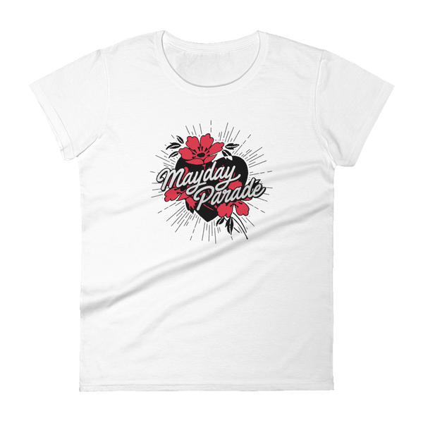 Flower Heart Femme Fit Tee (White)