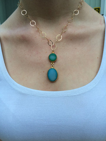 Green and Blue Druzy Drop