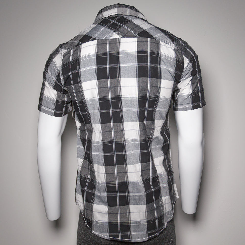 Black Checkered Short Sleeve Button Up