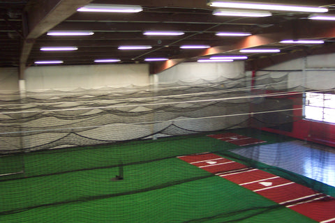 air view of cages, turf, stance mats, benchs, complete view