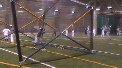 Notre Dame, into batting cage, BATCO plate cage, easy to move, anywhere on the field