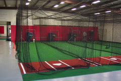 Batting cage, stance mat, netting, baseball training center