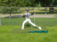 Indoor outdoor practice mound turf covered