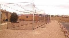 Outdoor install of baseball cage, standard inground frame, brace poles, in Pueblo Colorado