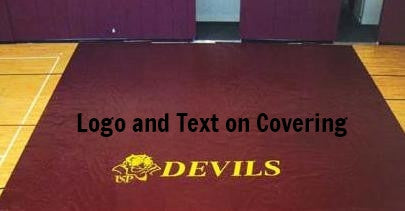 logo and text on floor covering