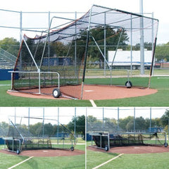 Folding Home Plate cage in sequence of closed to open