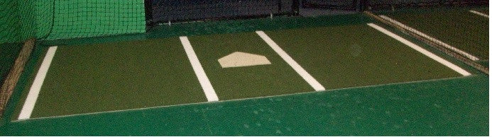6x12 stance mat with regulation batters box, home place, nylon, 5mm foam back, permenent lines and home plate