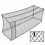Drawing of batting cage with door, inset show of mesh size