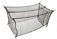 Line graphic of batting cage, with baffle net at batter end, door, border roping