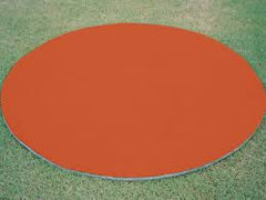 Terra Cotta (clay) colored fungo circle, on deck circle