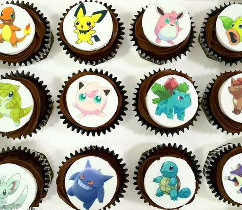 pokemon pocket monsters image print chocolate cupcakes