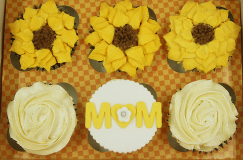 sunflowers cupcakes mango vanilla mother's day