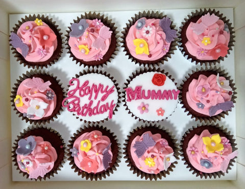 Floral Cupcakes (Box of 12) - Cuppacakes - Singapore's Very Own Cupcakes Shop