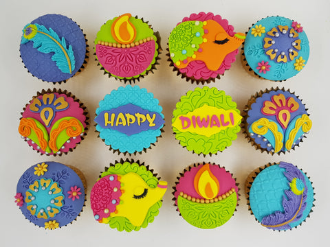 Deepavali Cupcakes - Colours of Diwali (Box of 12) - Cuppacakes - Singapore's Very Own Cupcakes Shop