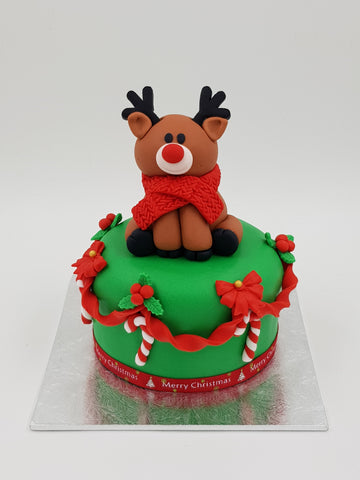 Christmas Festive Cake (4 Inch Round) - Reindeer - Cuppacakes - Singapore's Very Own Cupcakes Shop