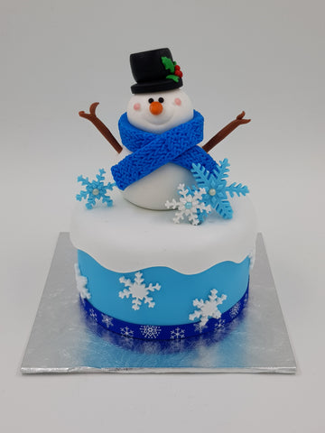 Christmas Festive Cake (4 Inch Round) - Snowman - Cuppacakes - Singapore's Very Own Cupcakes Shop