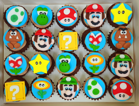 Mario Themed Mini Cupcakes (Box of 20)