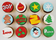 Christmas Cupcakes (Set of 12) - Joy Love Peace - Cuppacakes - Singapore's Very Own Cupcakes Shop