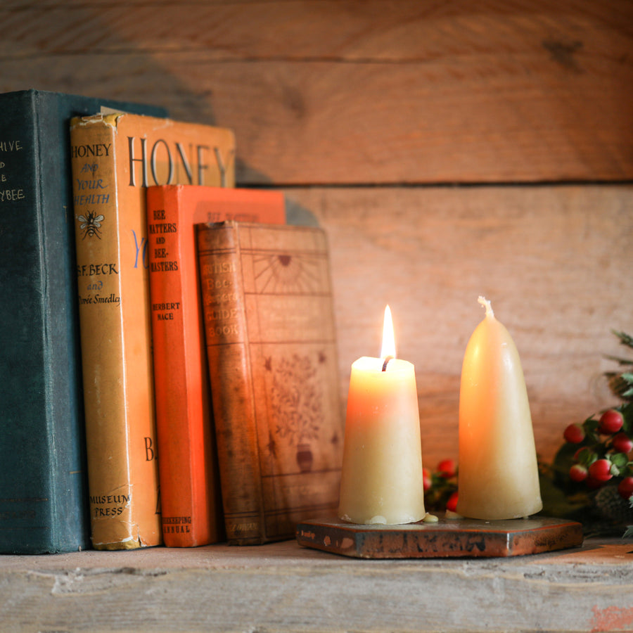 Short Tapered Beeswax candle pair - 100% Pure British Beeswax