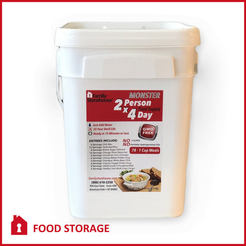 """Monster Size"" 2-Person 4-Day Emergency Survival Food Supply"