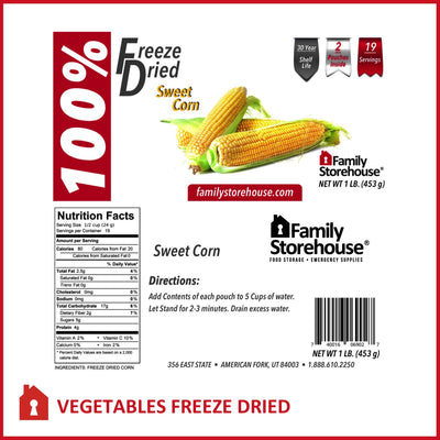 Freeze Dried Sweet Corn FSH labels