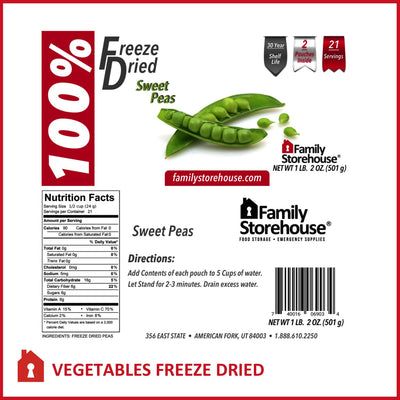 Freeze Dried Sweet Peas FSH Labels
