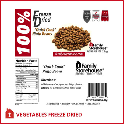 "Freeze Dried ""Quick Cook"" Pinto Beans FSH labels"