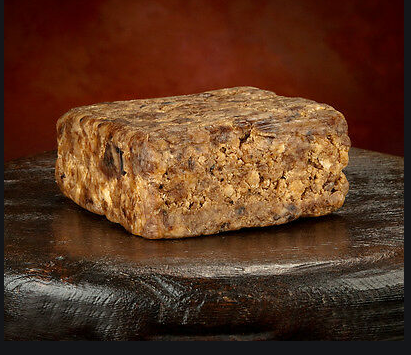 Raw black soap block