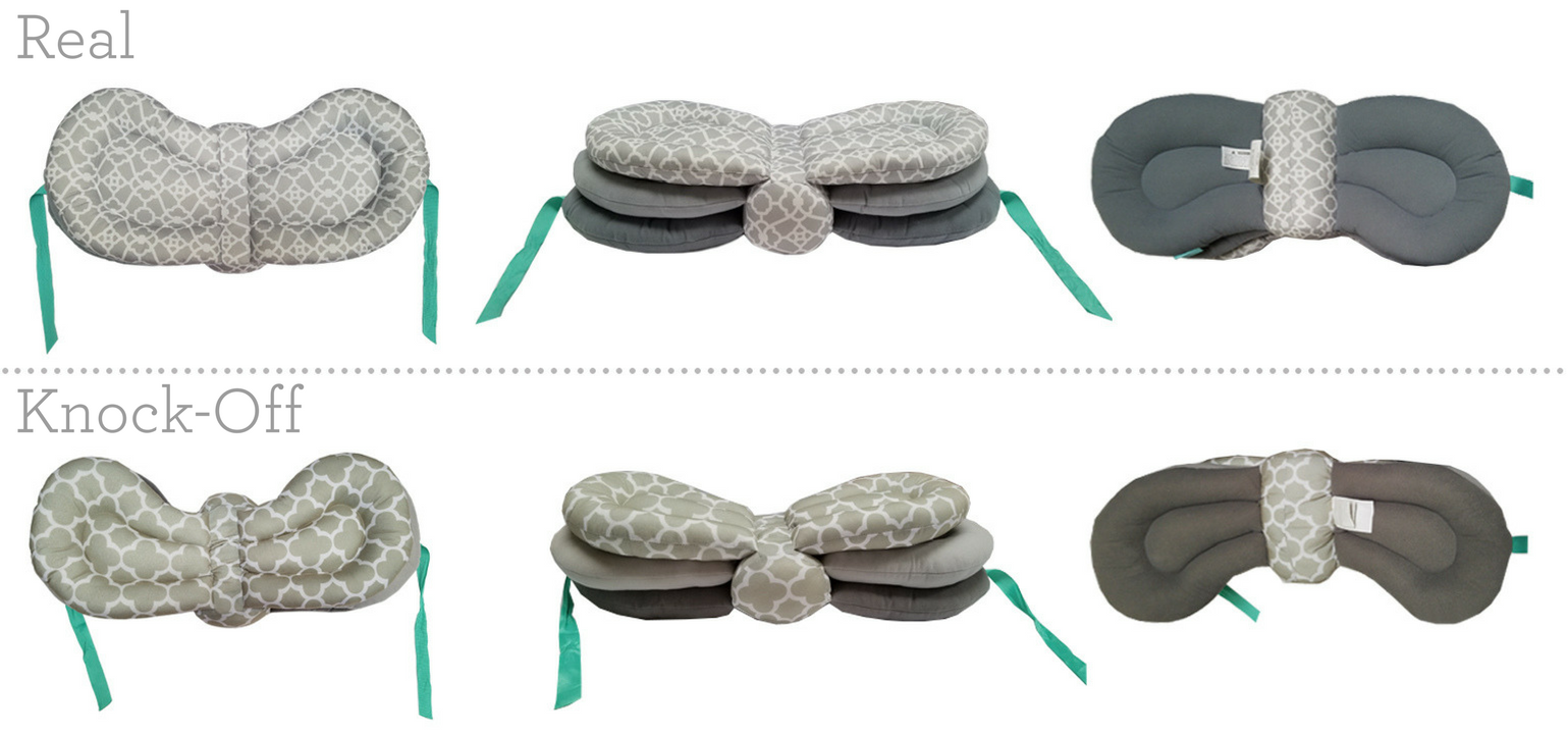 Showing the difference between a real and fake Infantino Elevate nursing pillow.
