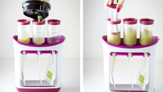 Press puree into squeeze pouches using Infantino Squeeze Station.