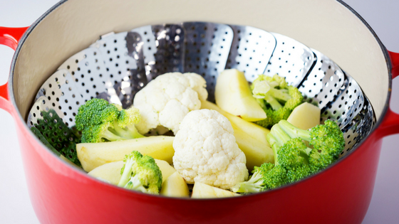 Add cauliflower, and broccoli to steam basket. Steam for 5 to 7 minutes, or until tender. Save the water!