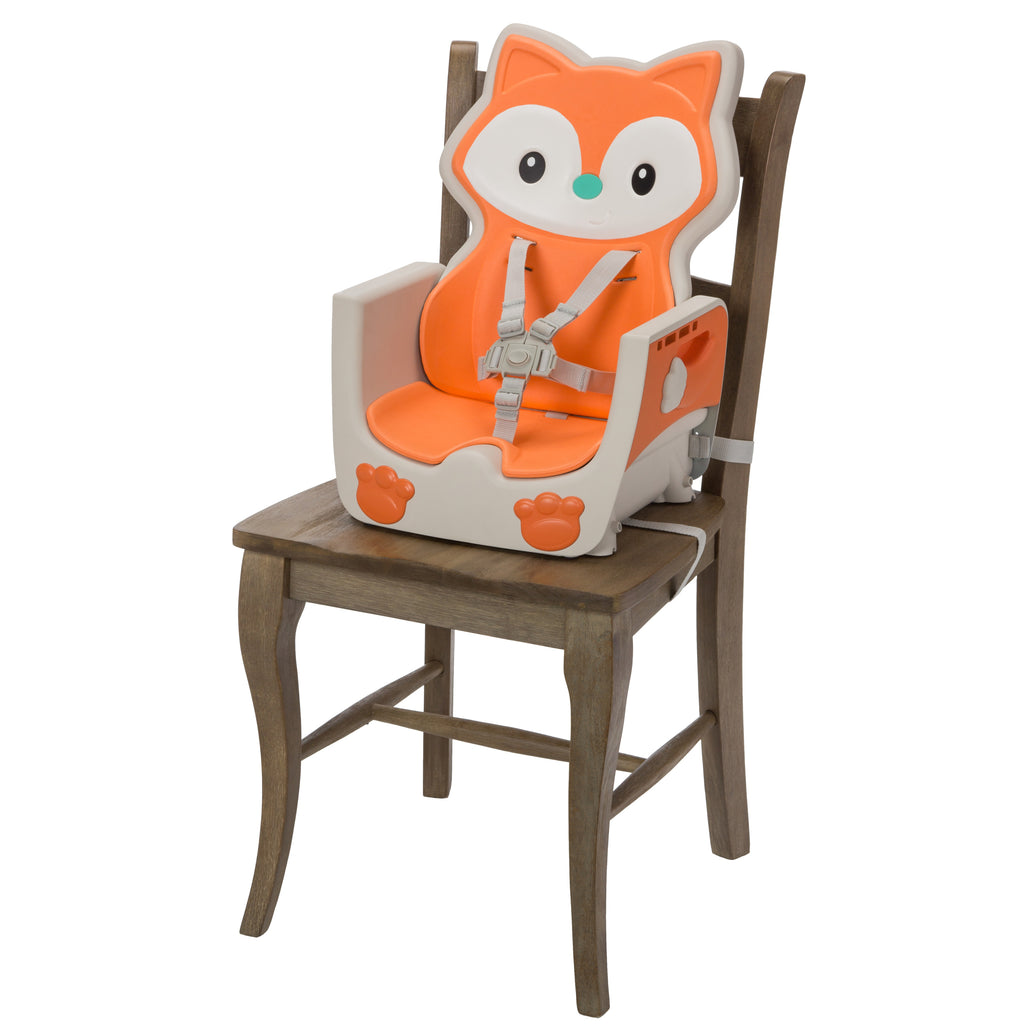 in a Fox-Themed Design Space-Saving Infantino 4-in-1 Highchair Multi-Stage Booster and Toddler Chair with Multi-use Meal mat and Dishwasher-Safe Tray