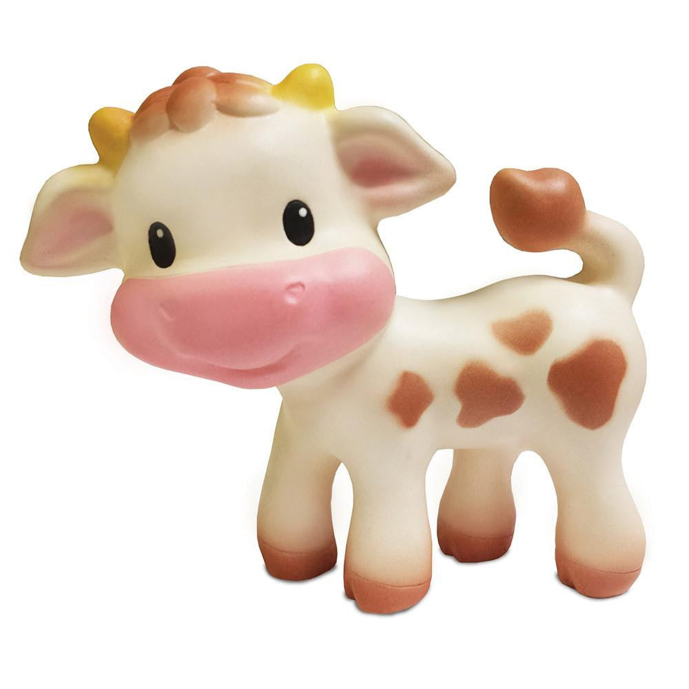 cow natural wooden baby teether toy