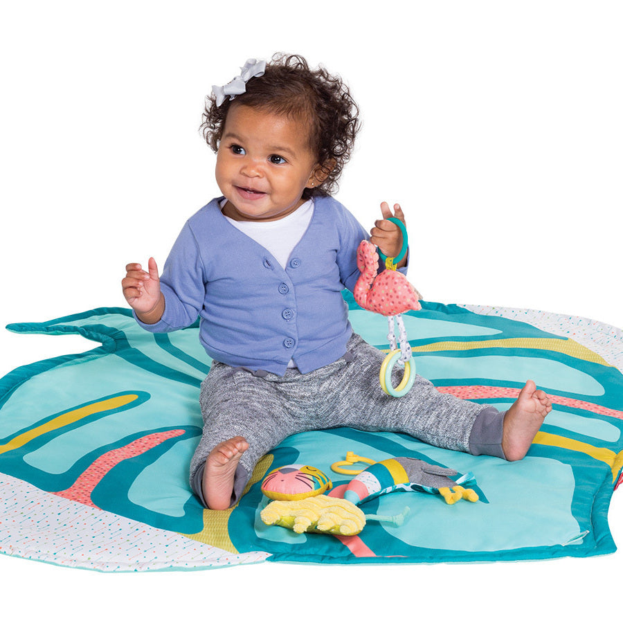 Deluxe Twist Amp Fold Activity Gym Amp Play Mat Tropical