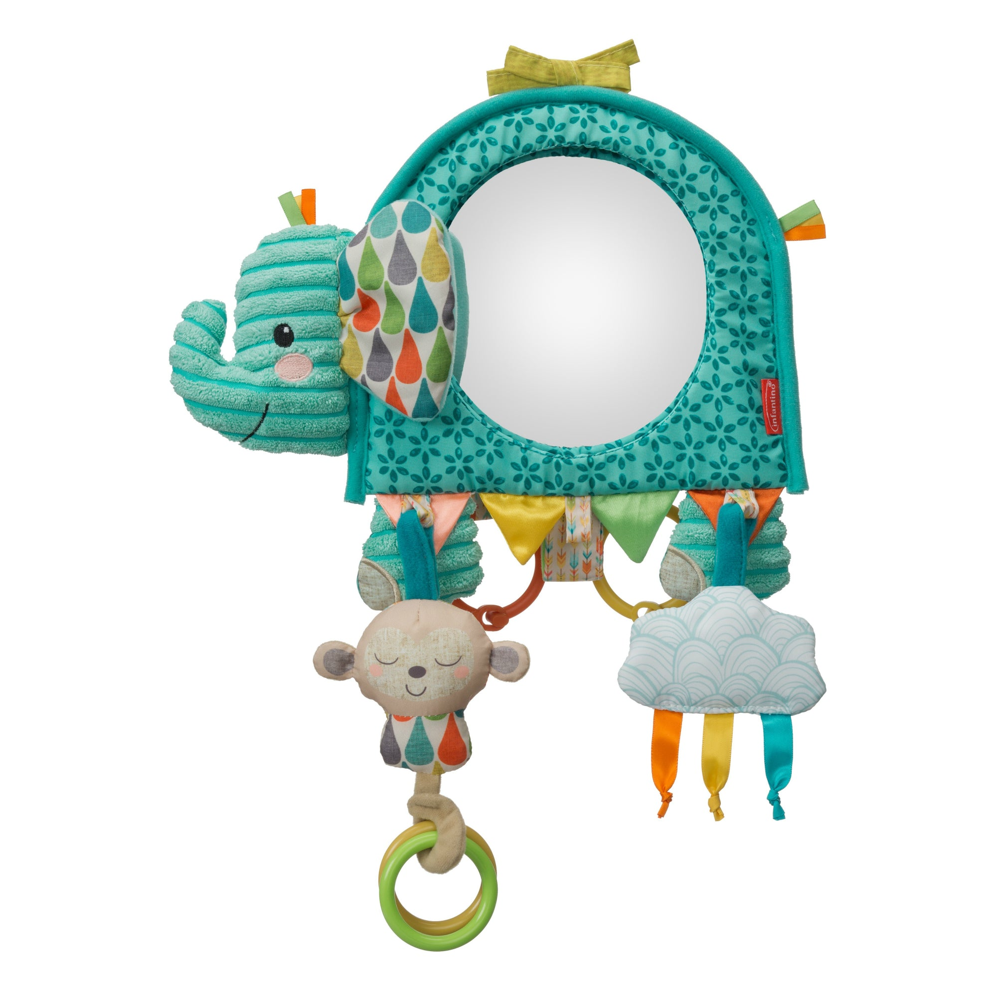 NUOBESTY Tummy Time Floor Mirror Play Activity Mirror Cartoon Elephant Shape Mirror Toy with Rattle Bell Toy for Baby Kids Toddler Infants