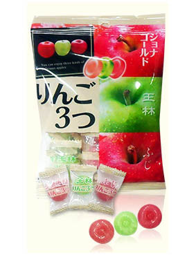 ASSORTED APPLE CANDY  りんご 3つ  120g
