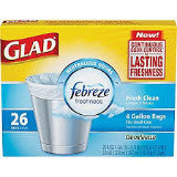 Glad Febreze Odor Shield Small Can Bags (4 Gal)