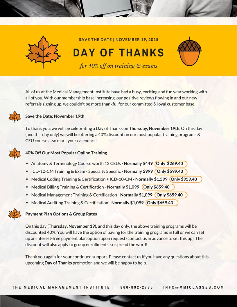 Day of Thanks Promotion through MMI - Discounts on CEUs, Training and Certifications for One Day